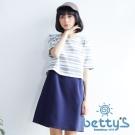 betty's貝蒂思 條紋假兩件式五分袖洋裝(灰色)