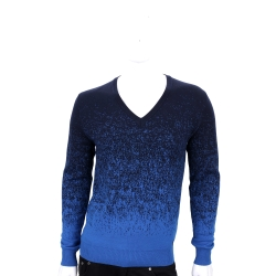 VERSACE 藍色漸層設計羊毛針織上衣