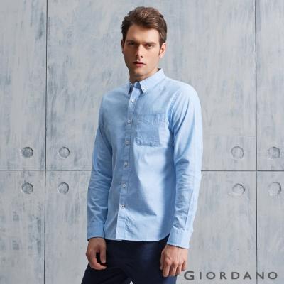 GIORDANO 男裝純棉水洗單口袋牛仔襯衫 - 08 藍色