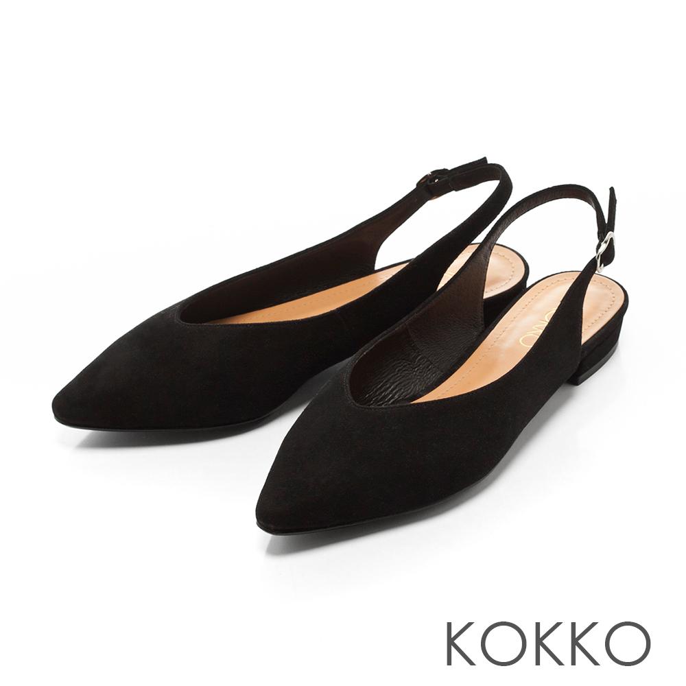 KOKKO -午後時光後拉帶尖頭平底鞋-韻味黑