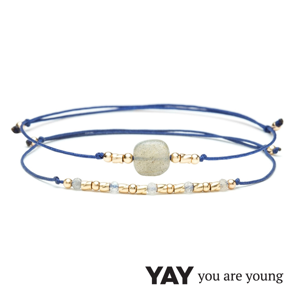 YAY You Are Young 法國品牌 Cleo 灰瑪瑙手鍊 2件組 金色