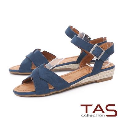 TAS 素面交叉絨布草編底台涼鞋-深海藍
