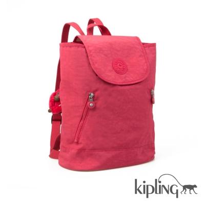 Kipling 後背包 珊瑚紅素面-中