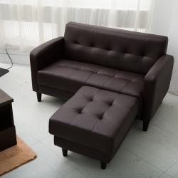 日安家居-Connie唐妮雙人皮沙發-含腳椅/二色
