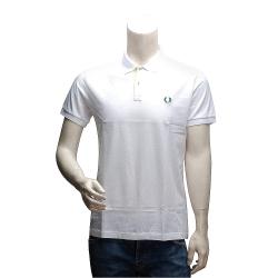 FRED PERRY 經典刺繡LOGO 純棉撞色設計立領短袖POLO衫(白)