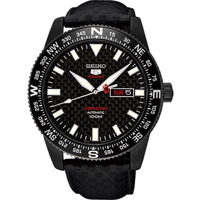 SEIKO 限量版精工5號盾牌碳纖維機械錶(SRP719J1)-鍍黑/44mm