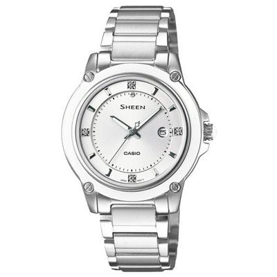 CASIO SHEEN系列 極簡典雅水晶鑽錶-白X銀-30mm