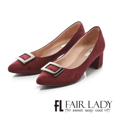 Fair Lady 優雅小姐Miss Elegant 秋色魅力尖頭低跟鞋 酒紅