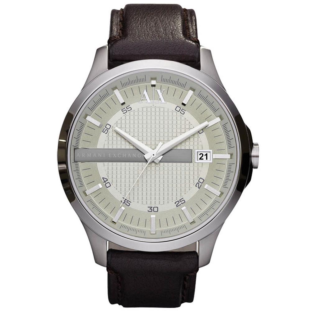 A│X Armani Exchange 城市旅人格紋紳士腕錶-深咖啡/皮帶/47mm