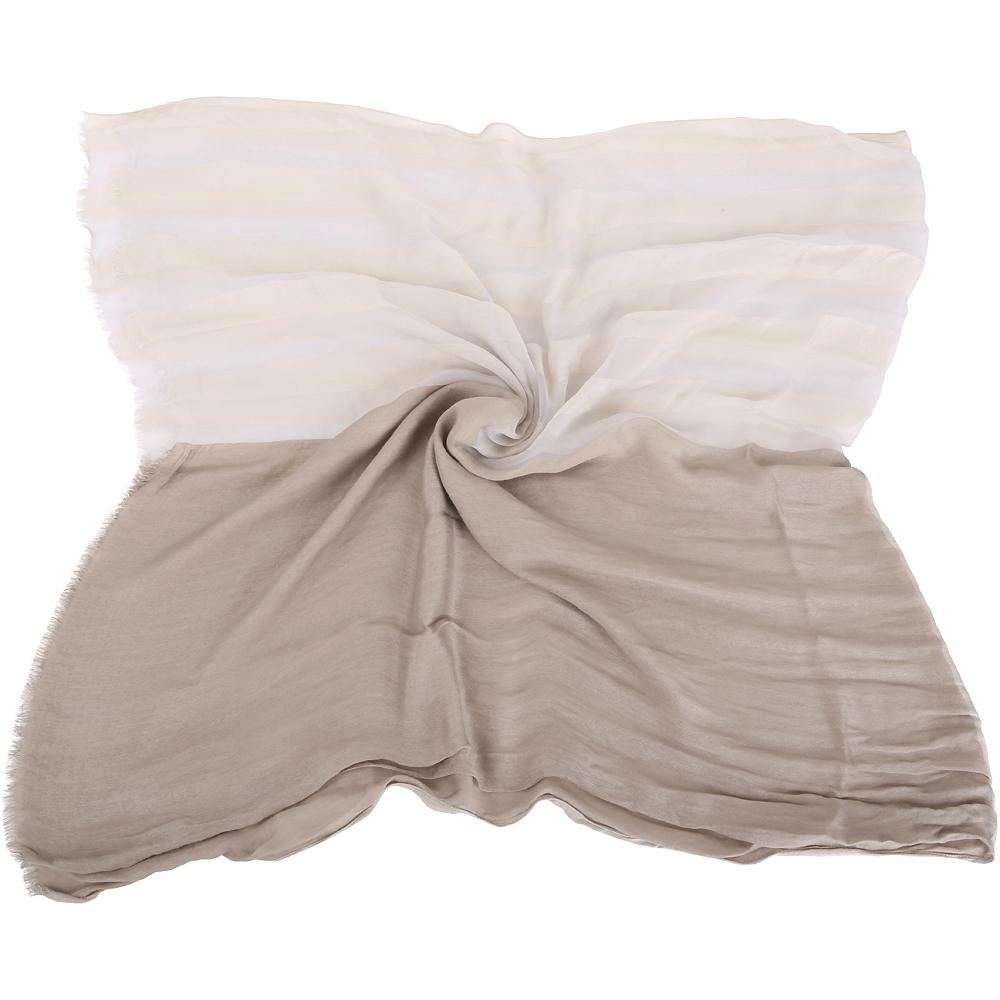 FABIANA FILIPPI 卡其灰色拼接條紋圍巾(附防塵袋)