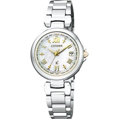 CITIZEN XC 羅馬戀曲光動能電波腕錶(EC1035-56W)-珍珠貝x銀/28mm