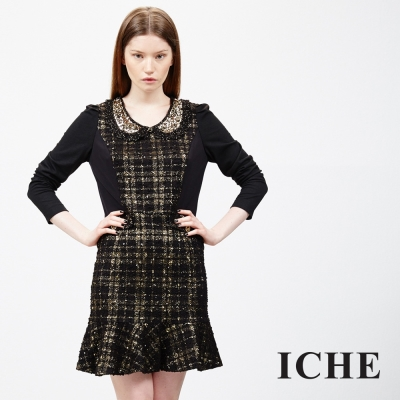 ICHE 衣哲 毛呢拼接層次荷葉洋裝
