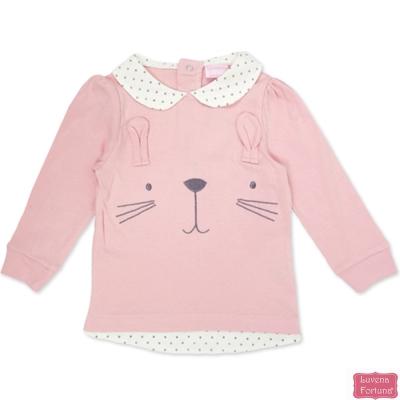 LILY & JACK 英國 粉紅兔子臉滿版長袖上衣