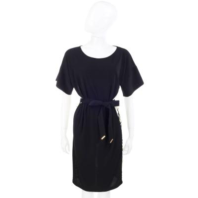 CLASS roberto cavalli 印花拼接短袖綁腰洋裝