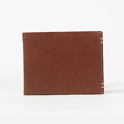 CALTAN-短夾 男夾 夾邊縫線 不厚重 皮件 鈔票夾 信用卡夾-072986cd