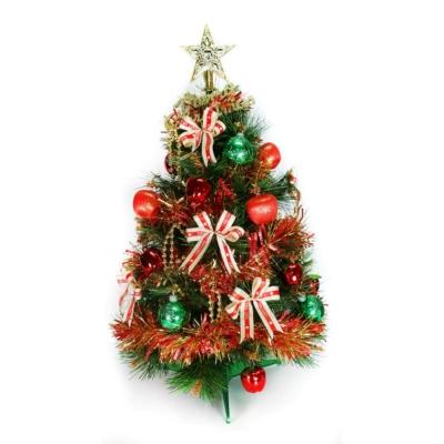 台製2尺(60cm)特級綠色松針葉聖誕樹 (+紅金色系飾品組)