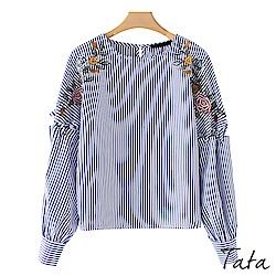 刺繡繫帶袖條紋上衣 TATA
