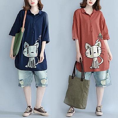 可愛貓咪印花棉麻長版T恤-L~XL(共兩色)-Keer