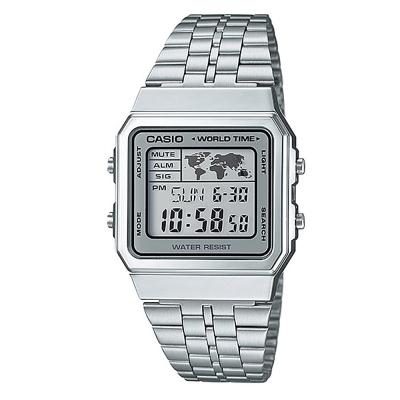 CASIO 復古風數字復刻地圖液晶顯示腕錶(A-500WA-7D)-銀X銀框/34mm