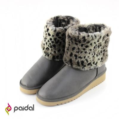 Paidal兩穿時尚豹紋增高短筒雪靴-時尚灰