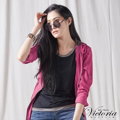 Victoria 銀蔥配領拼接背心-女-黑色