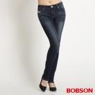 BOBSON 女款低腰針織牛仔小直筒褲(藍53)