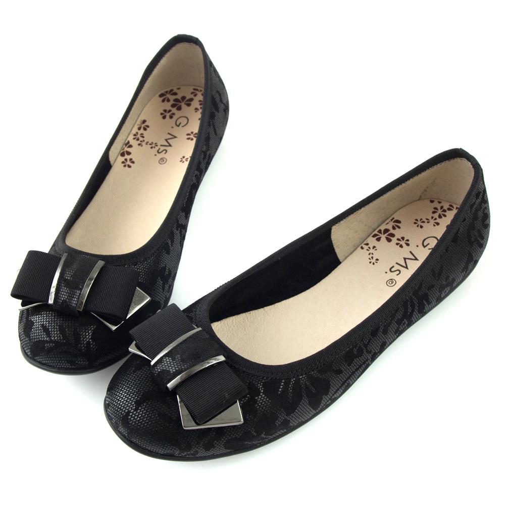 G.Ms. MIT系列-印花圖騰羊皮飾釦蝴蝶結豆豆娃娃鞋-黑色