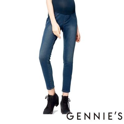 Gennies奇妮-舒適顯瘦孕婦牛仔褲(T4C11-藍)