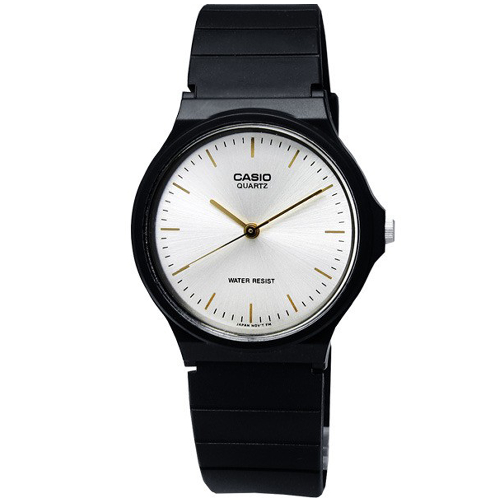 CASIO 超輕薄感數字錶(MQ-24-7E2)-銀白金字