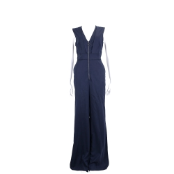 Max Mara 深藍色V領拉鍊設計無袖連身褲(97%WOOL)