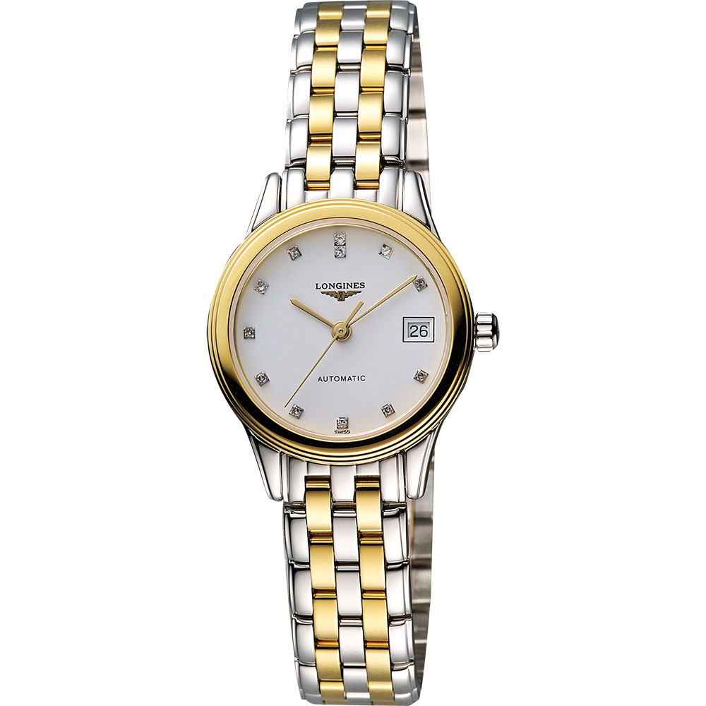 LONGINES 旗艦系列真鑽機械錶女錶-白x雙色版/26mm