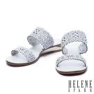 拖鞋 HELENE SPARK 鏤空雕花沖孔牛皮字帶厚底拖鞋-白