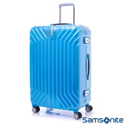 新秀麗-25吋-PC時尚硬殼鋁框行李箱-海洋藍
