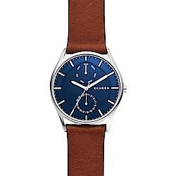 SKAGEN Holst 城市日曆時尚男錶-藍x咖啡/40mm