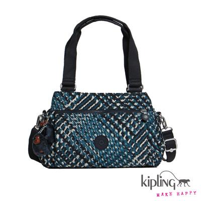 Kipling-手提包-藍白千鳥格印花