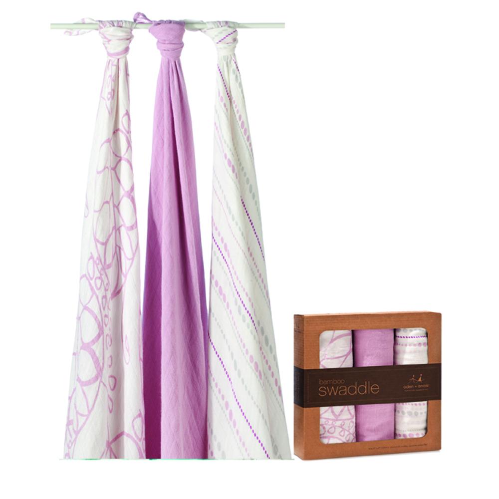 美國 aden+anais新生兒絲柔(竹纖維)包巾3入-粉紅幾何系列AA9204