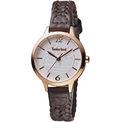 Timberland光輝交會時尚女錶-白x咖啡/31mm