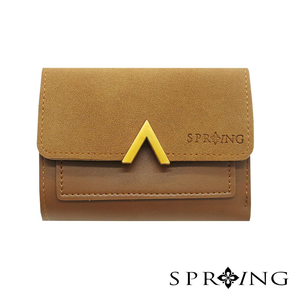 SPRING-如初微光V釦短夾-經典棕