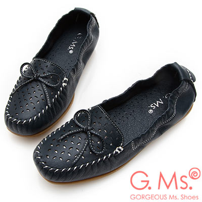 G.Ms. MIT系列-超軟Q彈力沖孔蝴蝶結牛皮莫卡辛休閒鞋-深藍