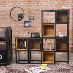 Bernice-希德仿舊工業風開放式收納櫃/書櫃組合-120x30
