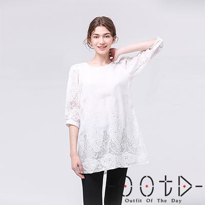 雪紡蕾絲燈籠袖上衣 (白色)-OOTD