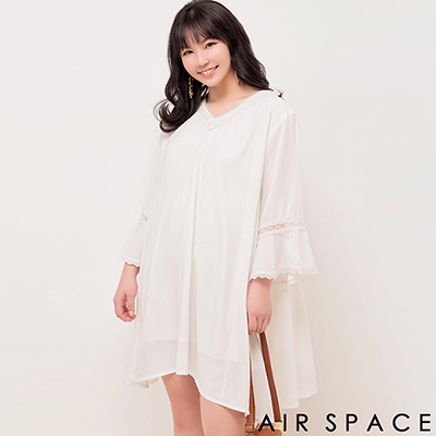 AIR SPACE PLUS 拼接蕾絲荷葉傘襬雪紡洋裝(白)