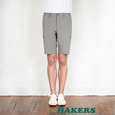 【HAKERS】男-快乾彈性短褲-淨灰色