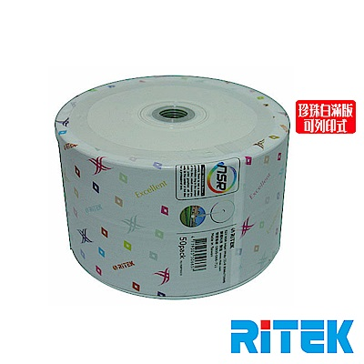 RITEK錸德 52X CD-R白金片 珍珠白滿版可列印/100片裸裝