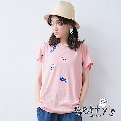 betty's貝蒂思 可愛棉質T-shirt(淺粉)