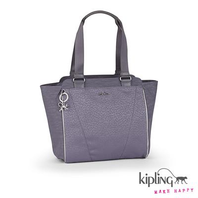 Kipling-淡紫豹斑紋手提包