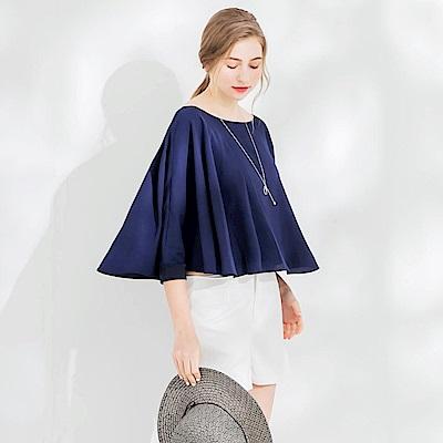 亮彩傘襬袖剪裁造型圓領上衣.3色-OB大尺碼