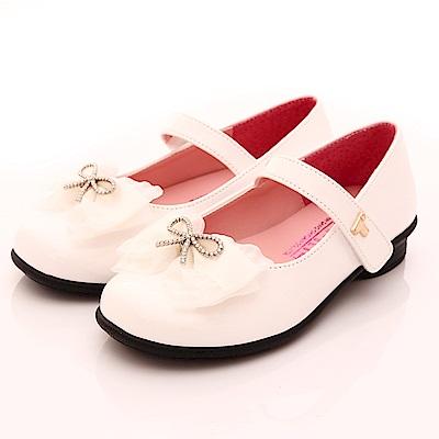 TOPUONE水鑽蕾絲公主鞋 SI18346白(中大童段)