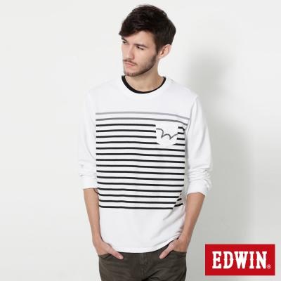 EDWIN W貼袋條紋長袖T恤-男-白色