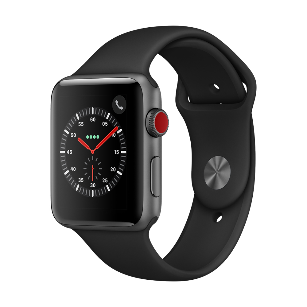 Apple Watch Series 3(GPS+網路) 42mm太空灰鋁金屬錶殼+黑色運動錶帶